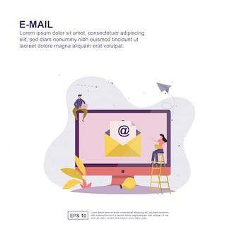 プレゼンテーションの電子メールコンセプトフラットデザイン。