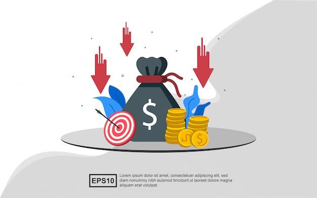Иллюстрация концепция снижения затрат больших количествах.