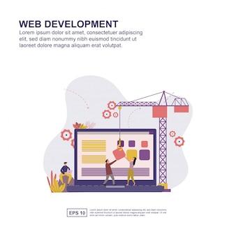 Веб-разработка концепции плоский дизайн для презентации.
