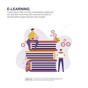 Дизайн иллюстрации вектора концепции электронного обучения плоский.