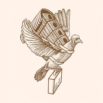 鳩旅行イラスト