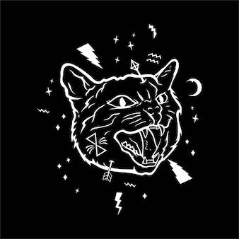 Иллюстрация злого кошка