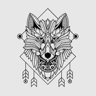 幾何学的なスタイルのオオカミ