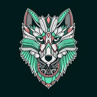 オオカミのカラフルなイラスト