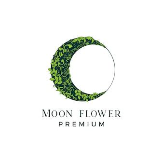 Лунный цветочный винтажный логотип