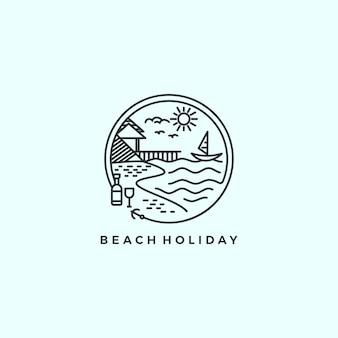 Пляжный отдых монолайн логотип