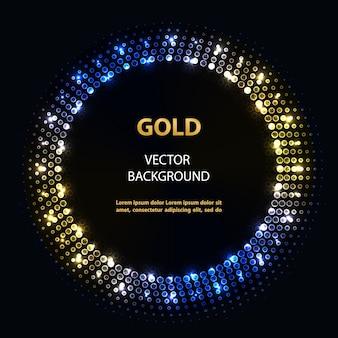 Абстрактный синий золотой круг кадр