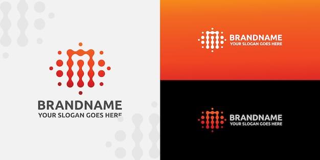 Шаблон подключения буква м точка логотип