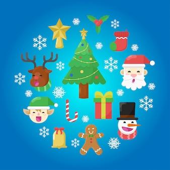 クリスマスフラットデザインエレメントコレクション。サンタ、ディア、エルフ、スノーマン、ジンジャーブレッドマン、スター、クリスマスツリー。