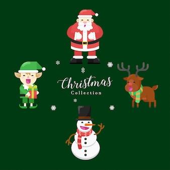 クリスマスフラットデザインエレメントコレクション。サンタクロース、スノーマン、エルフ、シカ。