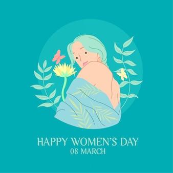 幸せな国際女性の日のお祝いカード。