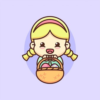 Счастливый пасхальный день милыша девочка приносит корзину пашального яйца.