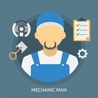 メカニックの男の背景デザイン