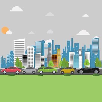 市の背景デザイン