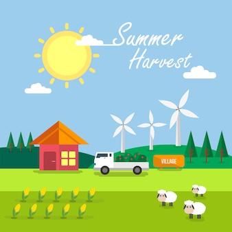 夏の収穫の背景デザイン