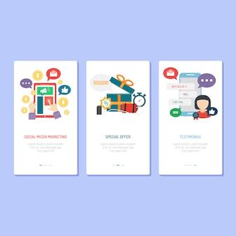 ランディングページデザイン - ソーシャルマーケティング、ディスカウント、お客様の声