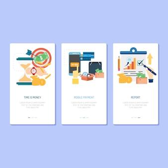 ランディングページのデザイン - 時間はお金、モバイル決済とレポート