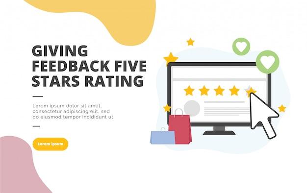 Пять звезд рейтинг плоский дизайн баннера иллюстрации