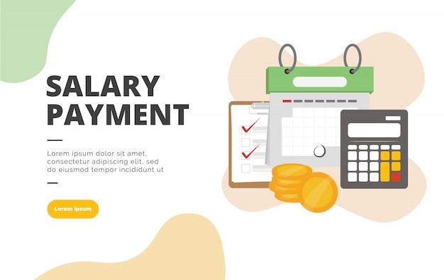 給与支払いフラットデザインバナーイラスト