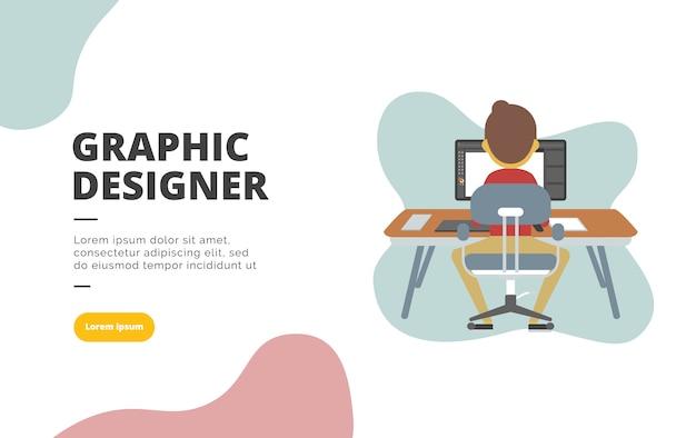 グラフィックデザイナーのフラットデザインのバナーイラスト
