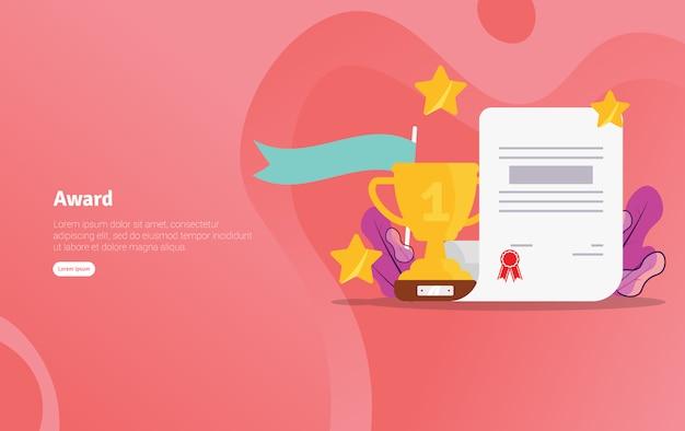 Награда школа концепции образовательные иллюстрации баннер