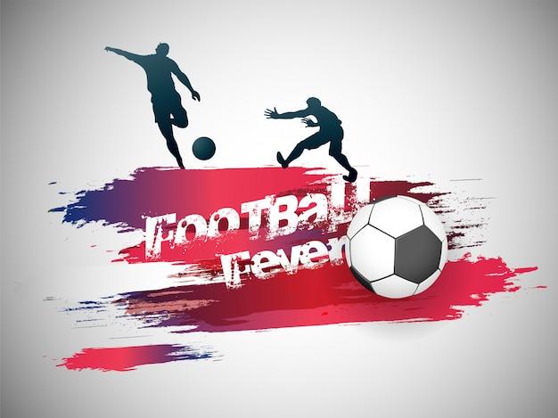 サッカーボール、ハンサムな赤い背景のアクションでサッカー選手のシルエット。