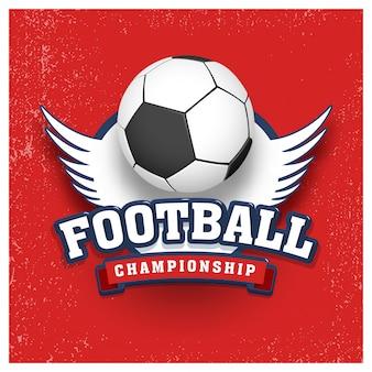 錆びた赤い背景に翼を持つスタイリッシュなサッカー。