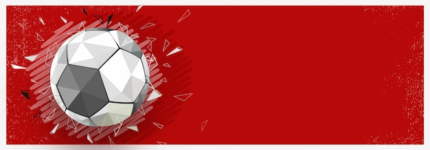 赤い背景に光沢のあるサッカー、ウェブバナーデザイン。