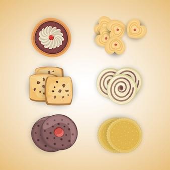 クッキー。漫画ベクトルの食品アイコンのセット。