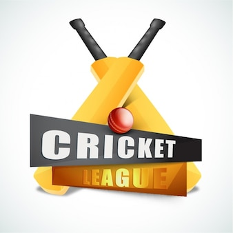 Фон крикет лиги с калитками и мяч