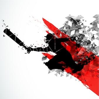 クリケット選手のシルエットの抽象的な背景