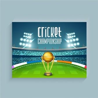 Крикет фон с стадион и трофей