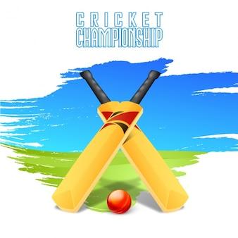 Зеленый и синий фон крикет с калитками