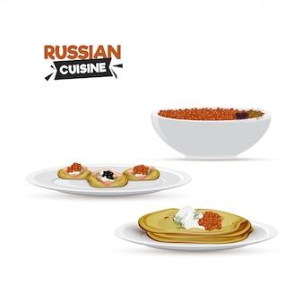 レストランや食べ物のコーナーのためのロシア料理。
