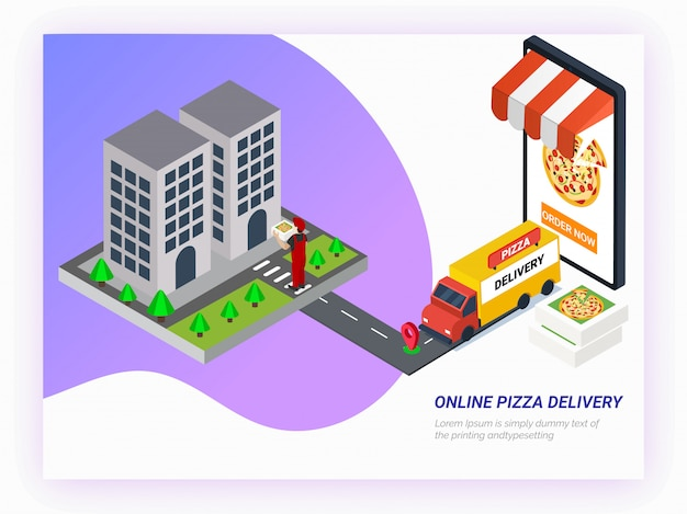 スマートフォンでアプリからオンラインで食べ物を注文する。