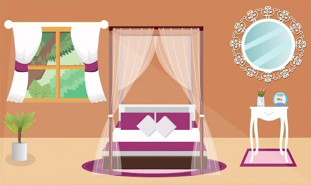 アーバンまたはモダンな寝室のインテリアデザイン