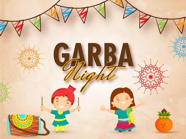 Концепция празднования ночного праздника гарба.