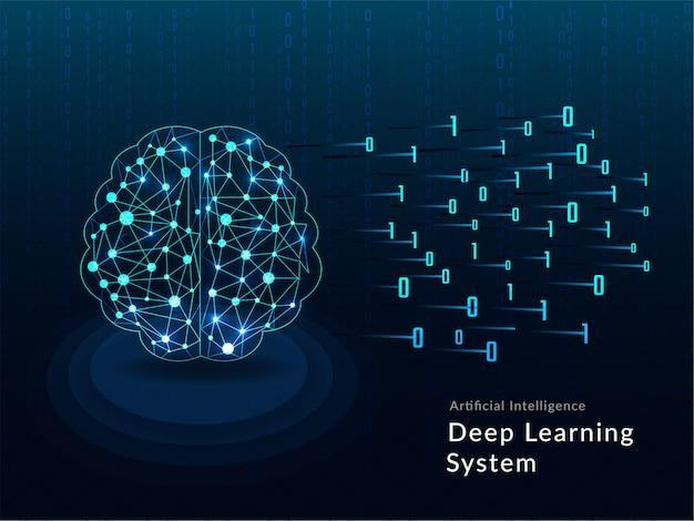 行列はメッシュのデジタルネットワークによって作られた人間の脳。