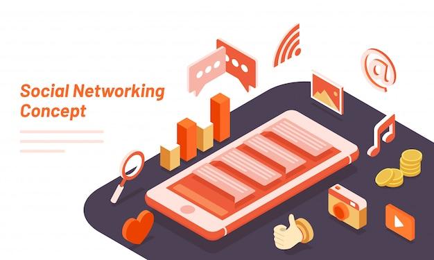 ソーシャルネットワーキングのコンセプトベースのリンク先ページ。