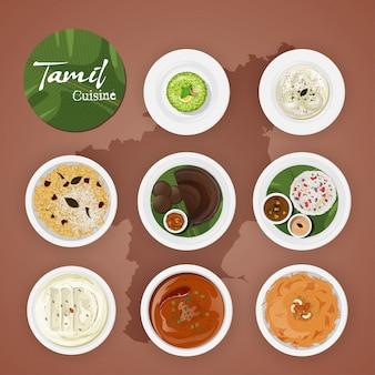 茶色の国の地図の背景にタミルのおいしい料理。