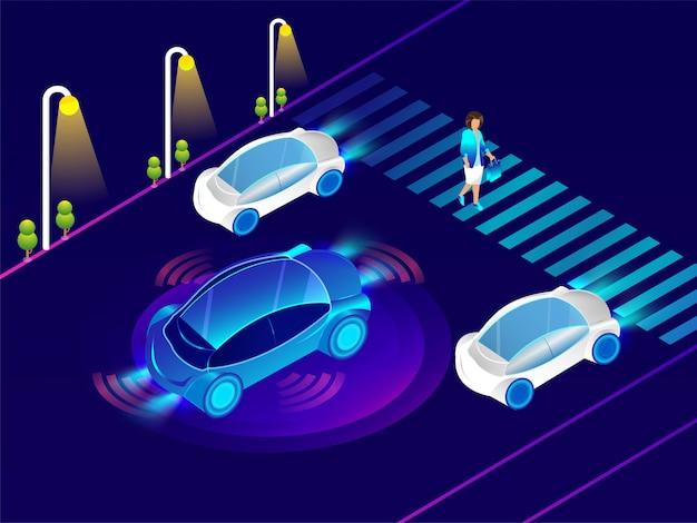 Автомобильный автомобиль с сенсорной технологией.