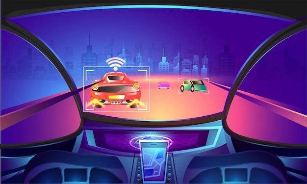 Автомобильная пустая кабина с сенсорной технологией.