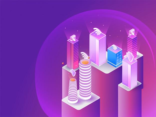 未来的なスマートシティのコンセプト。