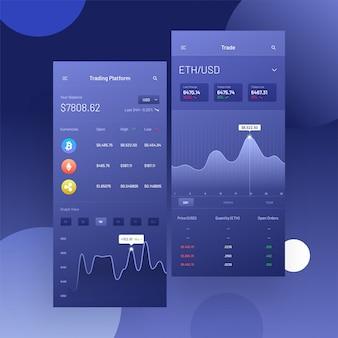 Торговля криптоконкурсами и обмен пользовательским интерфейсом для мобильных приложений.