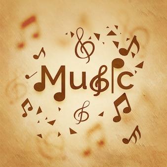 音楽の背景には音符が付いています。