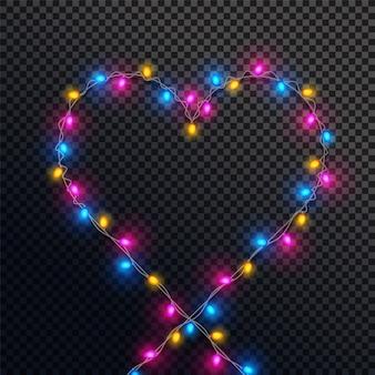 カラフルなライトで作られたハートの形。
