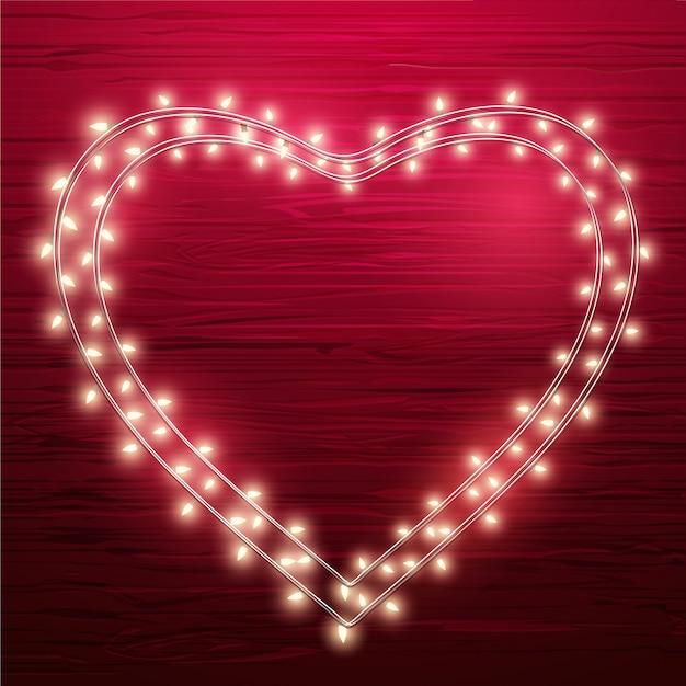 心臓の形に配置された装飾ライト
