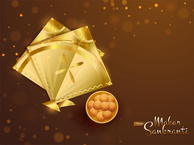 光沢のある黄金の凧とインドのデザートのトップビュー