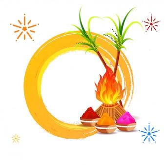 Костер, сахарный тростник с мисками сухих цветов и иллюстрации