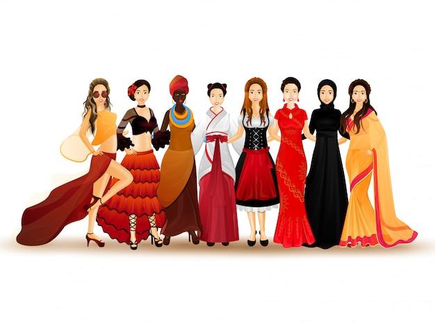 さまざまな国からの女性のイラスト。